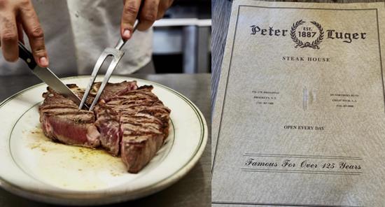 (左:招牌牛排 右:餐厅菜单)