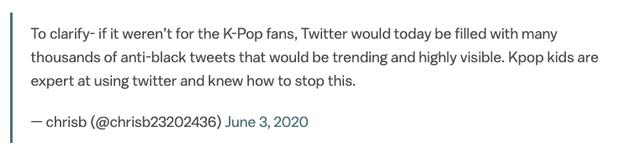 要不是有韩饭们这么拼命,Twitter早就沦陷为反对黑人内容的平台。韩饭宝宝们真是Twitter行家,深谙其道。