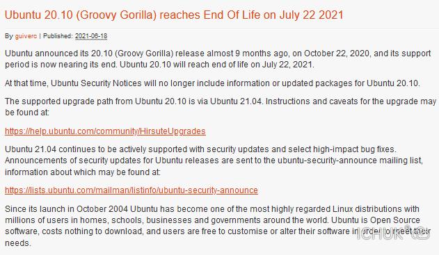 Canonical宣布Ubuntu 20.10 Groovy Gorilla的支持结束日期